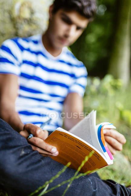 Jeune homme étudiant dans le parc — Photo de stock