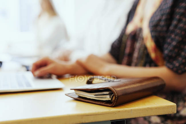 Note pad folder on table — Stock Photo