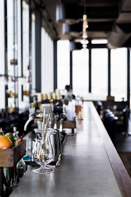 View on bar counter at restaurant — Stock Photo