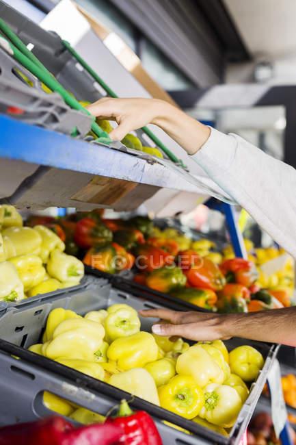 Coppia acquisto di frutta e verdura — Foto stock