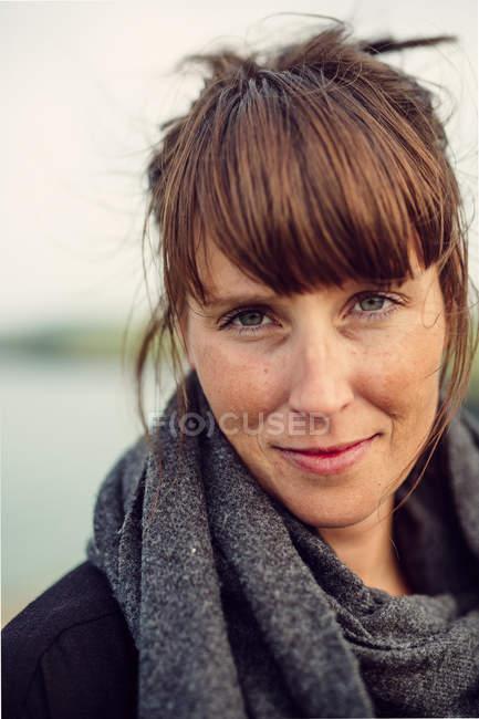 Confident woman at beach — Stock Photo