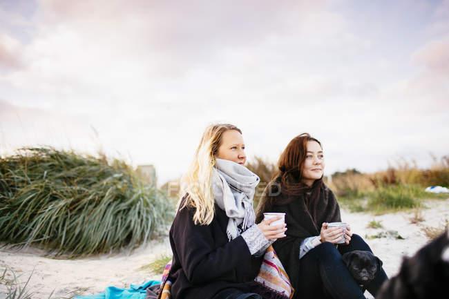 Friends on beach against sky — Stock Photo