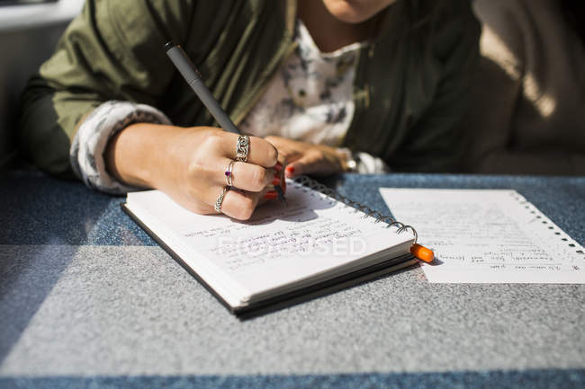 Businesswoman writing on diary in train — Stock Photo