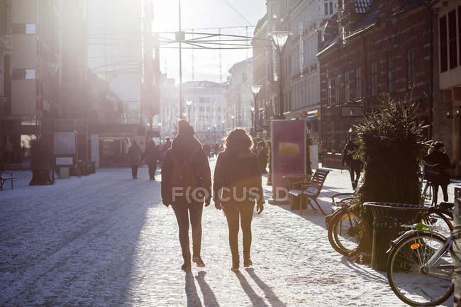 Amigos do sexo feminino andando na rua da cidade — Fotografia de Stock