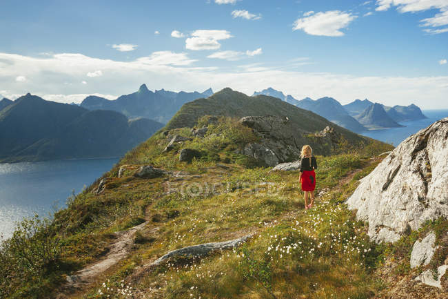Rear view of female hiker — Stock Photo