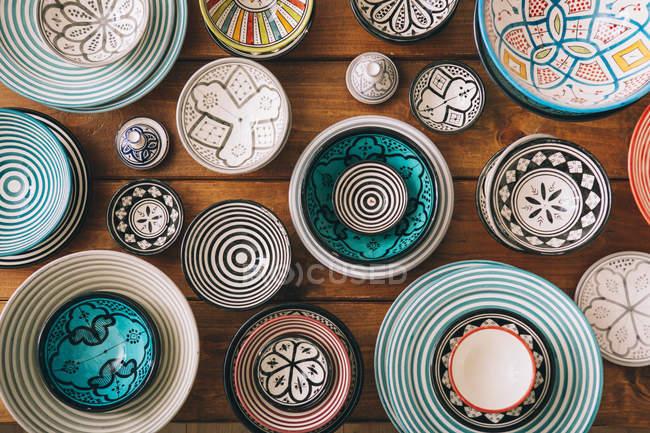Multi colored bowls — Stock Photo