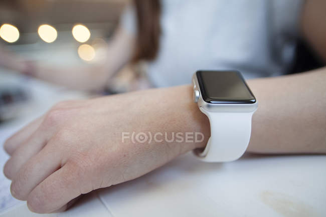 Woman wearing smart watch — Stock Photo