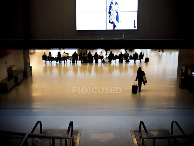 People at modern airport hall — Stock Photo