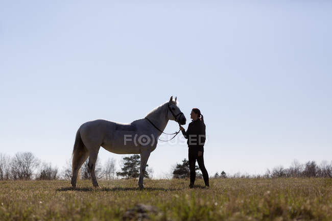 Woman looking at horse while standing on field — Stock Photo