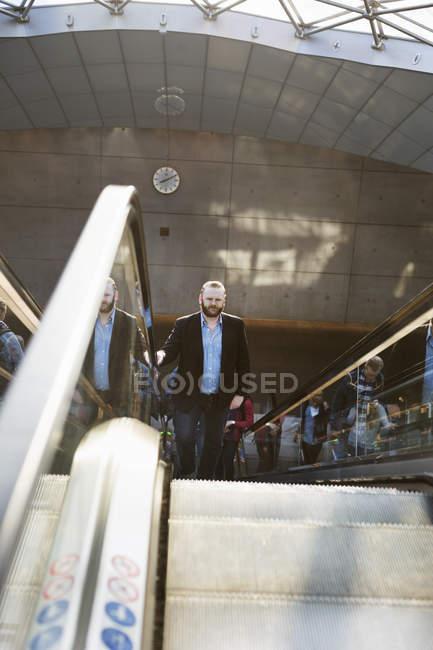Businessman at subway station — Stock Photo
