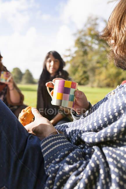 Uomo e donne amiche durante il picnic — Foto stock