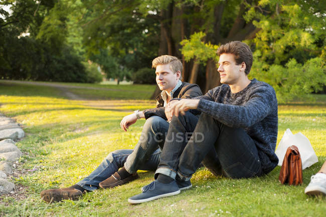 Handsome men sitting on grassy field — Stock Photo
