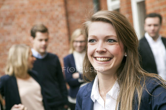 Happy young businesswoman — Stock Photo