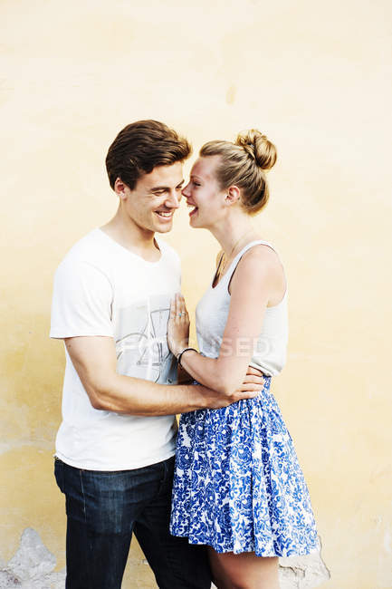 Happy couple talking — Stock Photo
