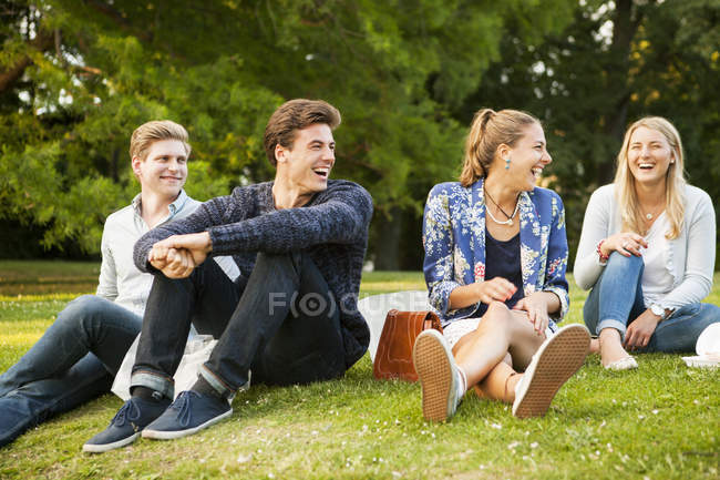 Cheerful friends enjoying at park — Stock Photo