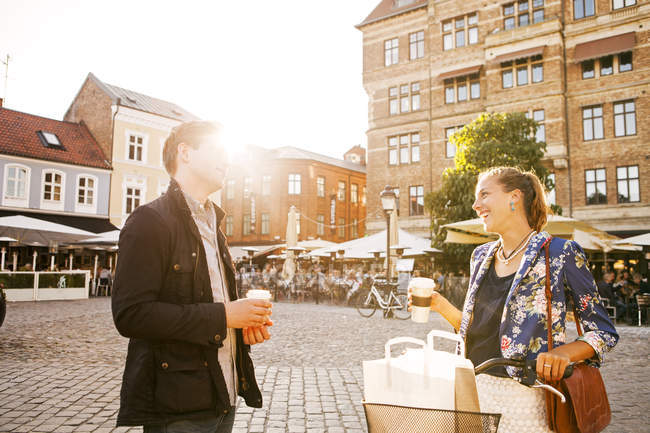 Cheerful couple looking at each other — Stock Photo