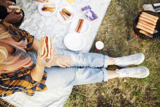 Woman holding hot dog during picnic — Stock Photo