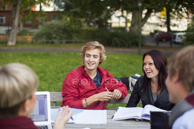 Young students discussing — Stock Photo