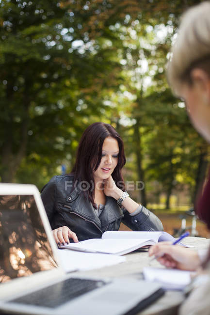 Young female friends studying — Stock Photo