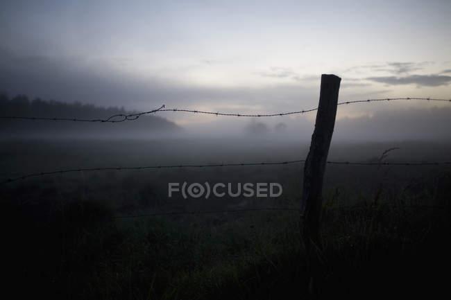 Паркан на травою поле — стокове фото