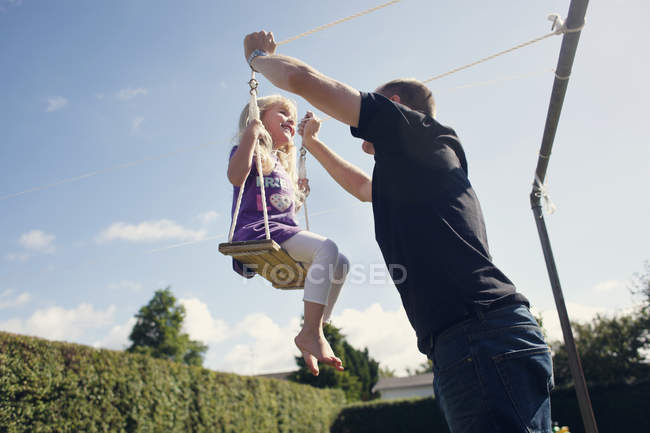 Playful father with daughter — Stock Photo