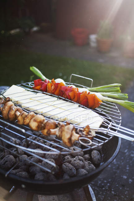 Vegetables and cheese being grilled on barbecue — Stock Photo