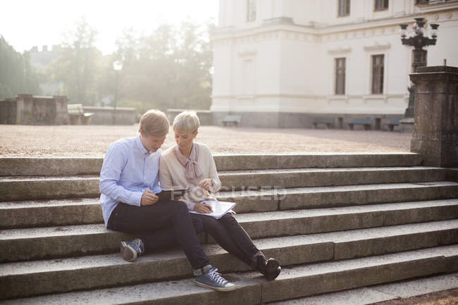 Young friends studying — Stock Photo