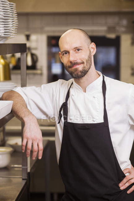 Chef at commercial kitchen — Stock Photo