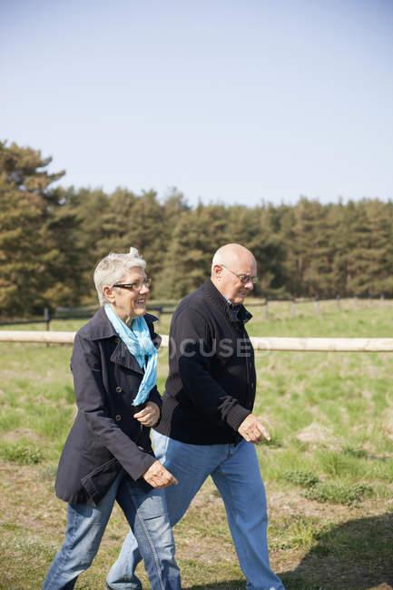 Älteres Paar zu Fuß auf Feld — Stockfoto