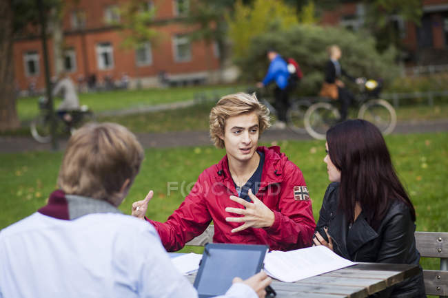 Young friends discussing — Stock Photo
