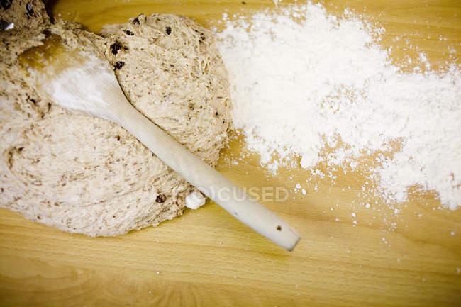 Powdered sugar and batter — Stock Photo