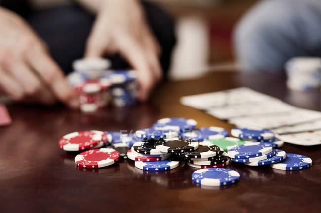 Gambling chips on table — Stock Photo