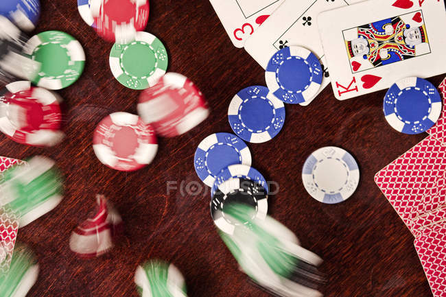 Blurred motion of poker chips — Stock Photo