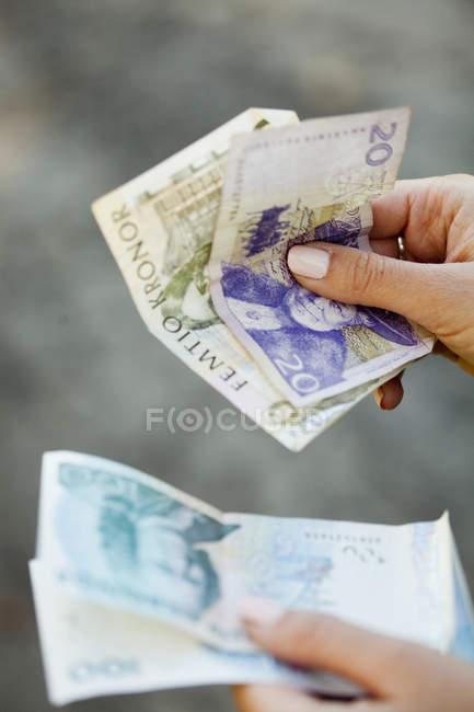 Жінка холдингу Данська паперових грошей — стокове фото