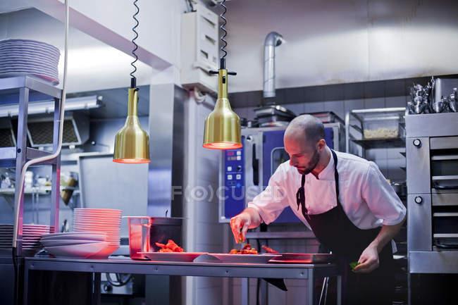 Chef garnishing food — Stock Photo