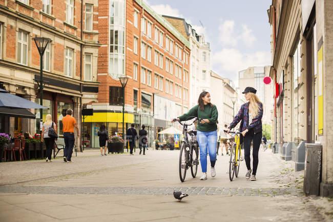Mulheres andando e empurrando bicicletas — Fotografia de Stock