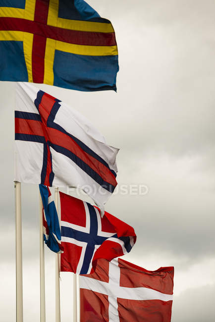 Flags on windy day — Stock Photo