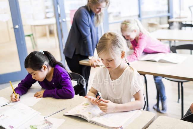 Девочки учатся в классе — стоковое фото
