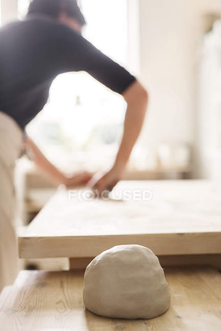 Piece of clay on table — Stock Photo