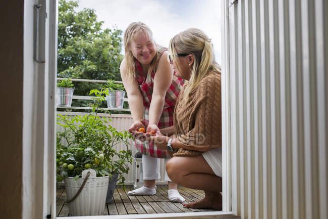 Mutter und Tochter mit Down-Syndrom pflücken Kirschtomaten auf Balkon — Stockfoto
