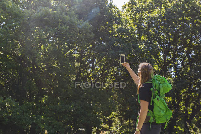 Young woman taking photo with smartphone in meadow — Stock Photo