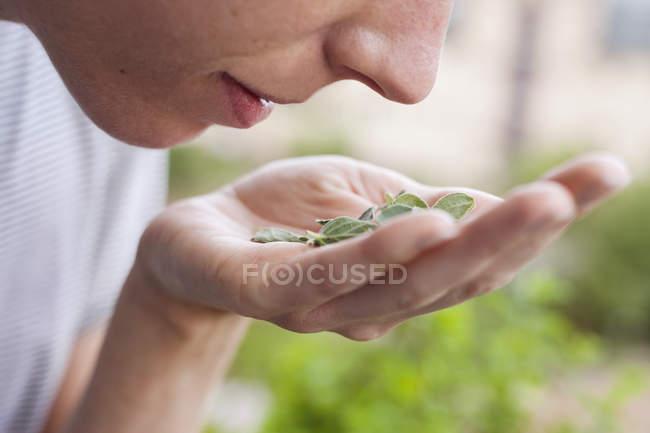 Frau, die frische Kräuter riecht, Nahaufnahme — Stockfoto