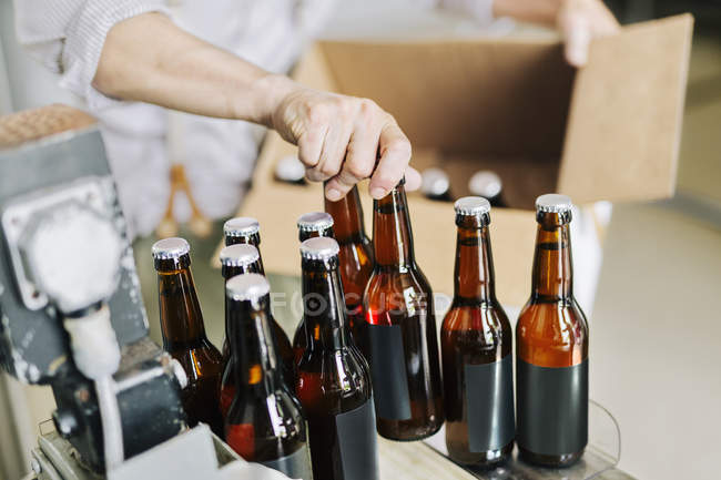 Пивоваренный завод работника, подготовке бутылок пива — стоковое фото