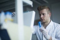 Scientist looking at test tube — Stock Photo