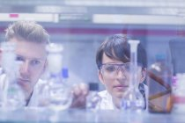 Scientists making scrutiny of samples in laboratory — Stock Photo