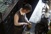 Coffee bar waiter — Stock Photo