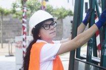 Frau Bauingenieur — Stockfoto