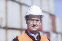Portrait of mature construction worker — Stock Photo
