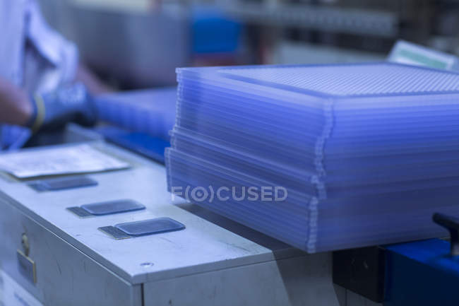 Blue boards on equipment — Stock Photo