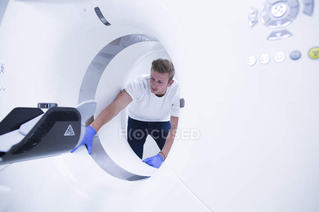 Doctor at computer tomography lab — Stock Photo